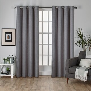 Oliver & James Botero Raw Silk Thermal Insulated Grommet Top Curtain Panel Pair