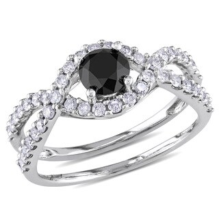 Miadora 14k White Gold 1 1/5ct TDW Black and White Diamond Ring
