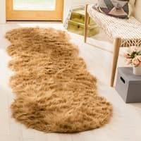 Safavieh Handmade Faux Sheepskin Camel Japanese Acrylic Rug (2'6 x 6')