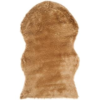 Safavieh Handmade Faux Sheep Skin Camel Acrylic Rug (2' x 3')