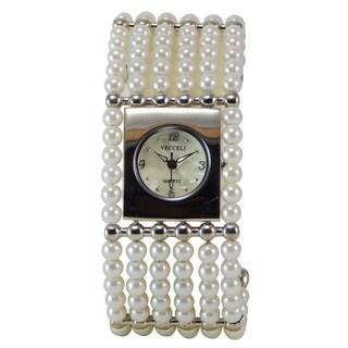 Vecceli Women's Fashion Wide Pearl Bracelet Watch