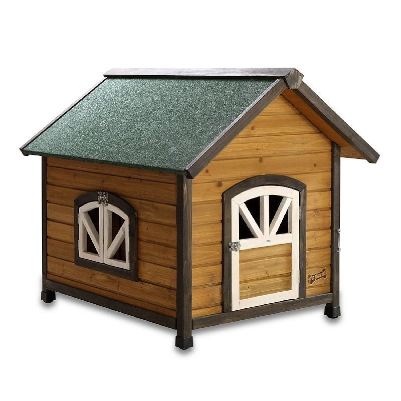 Pet Squeak Doggy Den Wooden Dog House (Small), Black