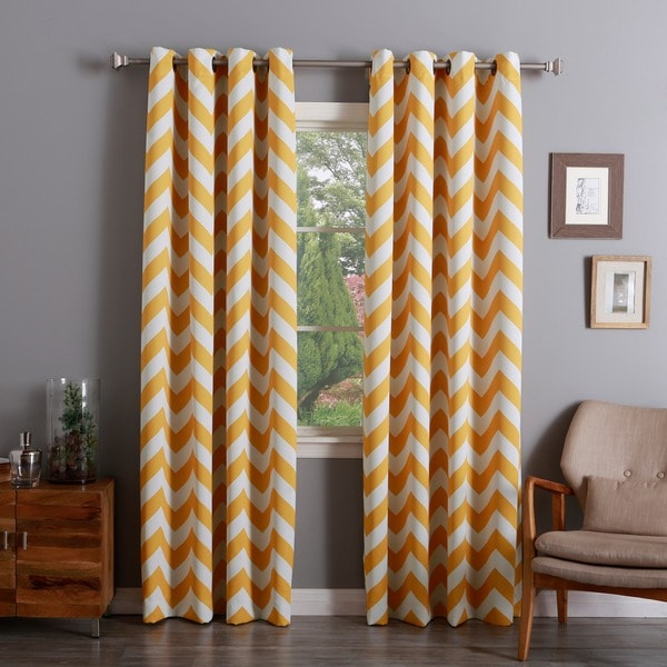 Aurora Home Room Darkening Chevron Print Grommet Top 84-inch Curtain Panel (Pair) - 52 x 84