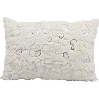 Nourison Mina Victory White 14 x 20-inch Faux Fur Throw Pillow