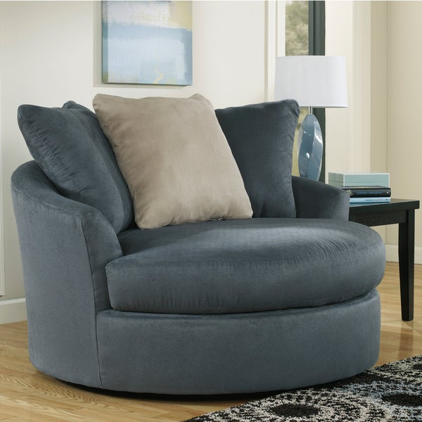 Signature design by ashley mindy indigo oversized swivel accent chair free shipping today Extra large living room chairs
