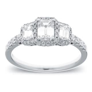 Azaro 14k White Gold 1 1/6ct TDW Emerald-cut Diamond Engagement Ring|https://ak1.ostkcdn.com/images/products/8897193/P16117603.jpg?impolicy=medium