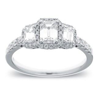 Azaro 14k White Gold 1 1/6ct TDW Emerald-cut Diamond Engagement Ring