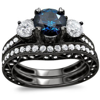 Noori 18k Black Gold 2 1/4ct TDW Blue and White Round Diamond Bridal Ring Set