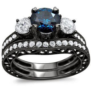 noori 18k black gold 2 14ct tdw blue and white round diamond bridal ring - Black And Blue Wedding Rings