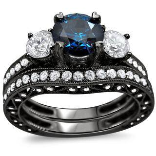 noori 18k black gold 2 14ct tdw blue and white round diamond bridal ring - Black Gold Wedding Ring Sets