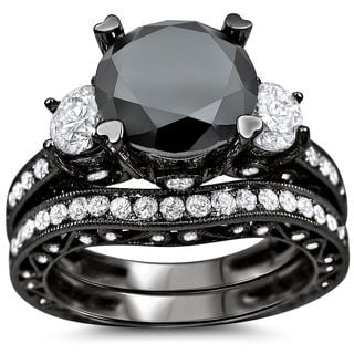 Noori 18k Black Gold 4 1/4 ct Black and White Round Diamond Bridal Ring Set (G-H, SI1-SI2)