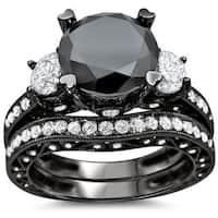 Noori 18k Black Gold 4 1/4 ct Black and White Round Diamond Bridal Ring Set