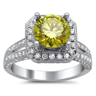 Noori 18k White Gold 1 3/4ct TDW Round Canary Yellow and White Diamond Square Engagement Ring (G-H, SI1-SI2)