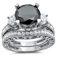 Noori 18k White Gold 4 3/4ct Black and White Round Diamond Bridal Ring Set
