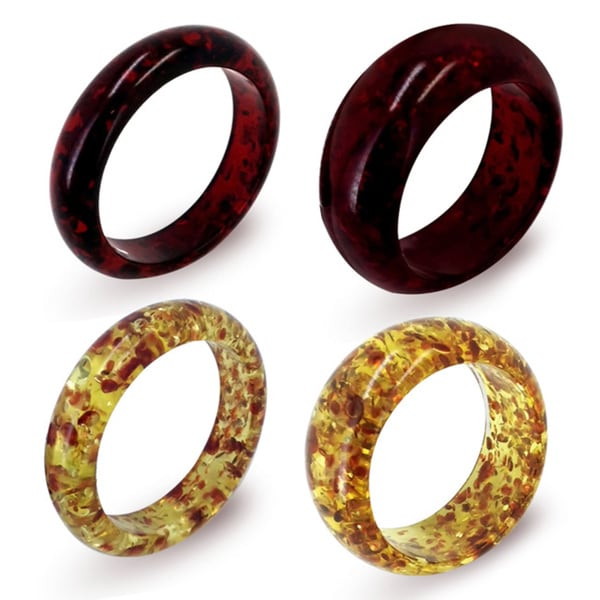 Simulated Red and Yellow Amber Slim or Wide Bangle (Set of 4)