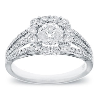 Azaro 14k White Gold 1 1/2ct TDW Round Diamond Triple Row Engagement Ring