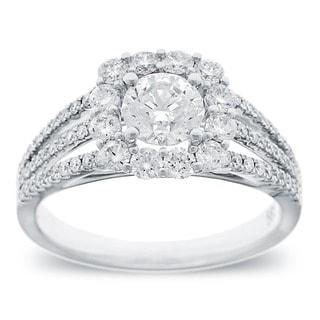 Azaro 14k White Gold 1 1/2ct TDW Round Diamond Triple Row Engagement Ring (G-H, SI2-I1)