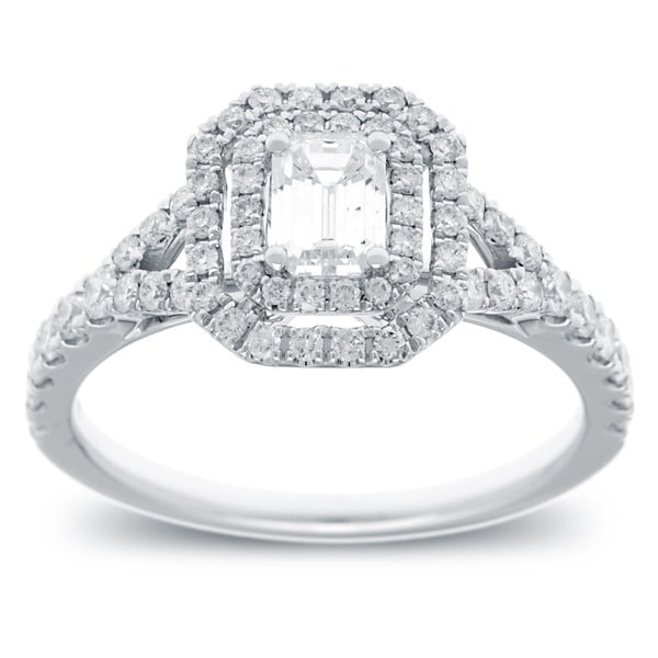 Azaro 14k White Gold 1 1/6ct TDW Emerald Cut Diamond Double Halo Engagement Ring