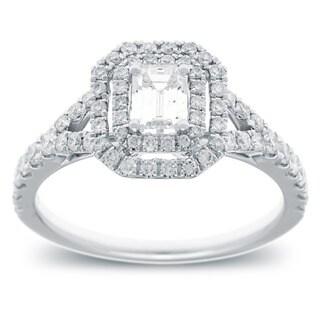 Azaro 14k White Gold 1 1/6ct TDW Emerald Cut Diamond Double Halo Engagement Ring