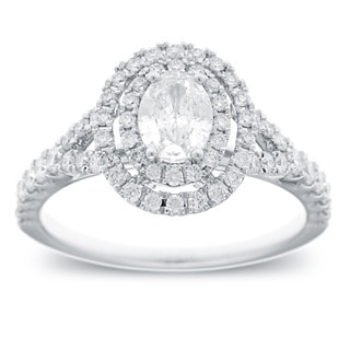 Azaro 14k White Gold 1 1/6ct TDW Oval Cut Diamond Double Halo Engagement Ring (G-H, SI2-I1)