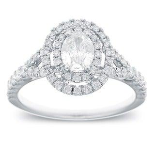Azaro 14k White Gold 1 1/6ct TDW Oval Cut Diamond Double Halo Engagement Ring