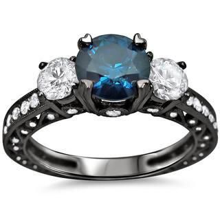 Noori 18k Black Gold 1 3 4 Ct Tdw Blue And White Round Diamond Ring