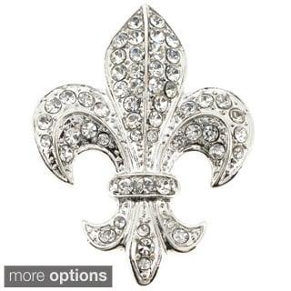 Silver Chrome Fleur-De-Lis Brooch/ Pendant