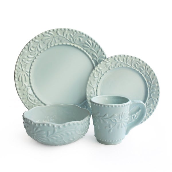 Bianca Blue Leaf Mist 16-piece Earthenware Dinnerware Set