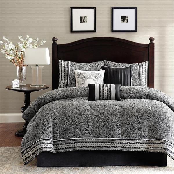 madison park denton 7 piece comforter set free shipping today overstock 16119897. Black Bedroom Furniture Sets. Home Design Ideas