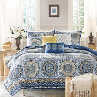 Madison Park Moraga Blue Medallion Print 6 Piece Microfiber Coverlet Set