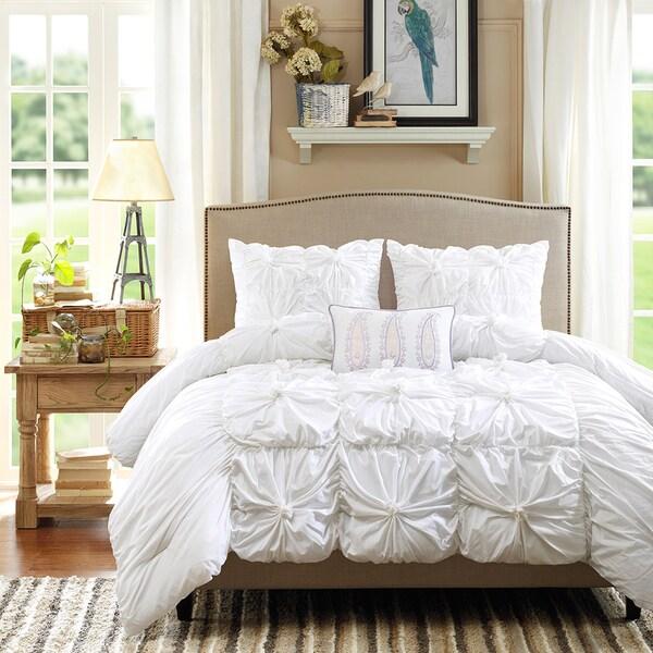 Madison Park Maxine Pintuck 4-piece Cotton Duvet Cover Set