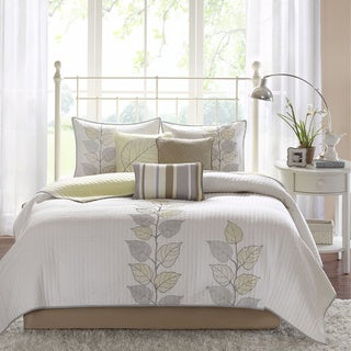 Madison Park Rochelle 6-piece Reversible Coverlet Set (Yellow - King - Cal King)