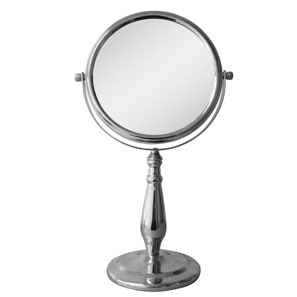 Free Standing Chrome Teardrop Shape 5X Magnifying Makeup Mirror by Elegant Home Fashions