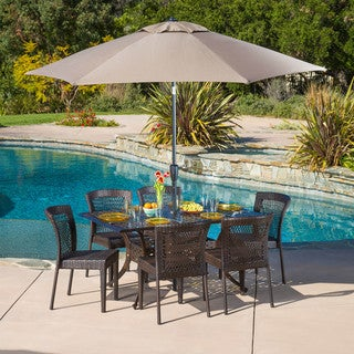 Dusk Rectangular Outdoor Cast and Wicker 7-piece Set by Christopher Knight Home