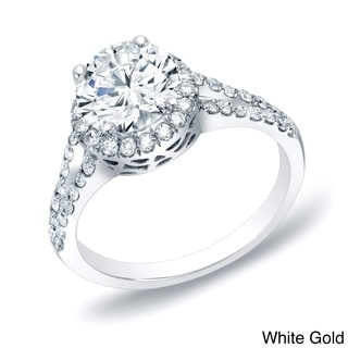 Auriya 14k Gold 1 1/4ctw Split-shank Halo Diamond Engagement Ring