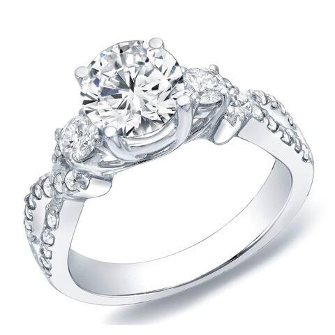 Auriya 14k Gold 1 1/2ctw 3-stone Diamond Engagement Ring