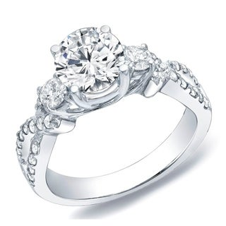 Auriya 14k Gold 1 1/2ct TDW Certified Diamond Three-Stone Ring (H-I, SI1-SI2)