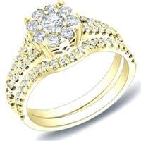 Auriya 14k Gold 3/4ct TDW Round Diamond Halo Engagement Ring Bridal Set
