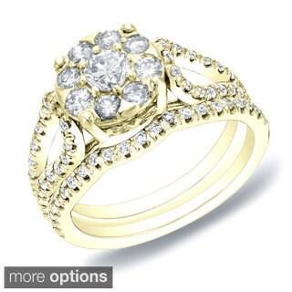 Auriya 14k Gold 1ct TDW Diamond Bridal Ring Set