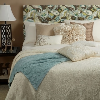 Humble + Haute Halifax Taupe Spa Blue Paisley Queen Diamond Tufted Upholstered Headboard