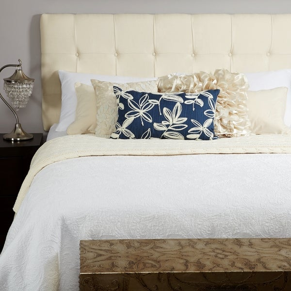 humble  haute stratton ivory linen tufted upholstered headboard, Headboard designs