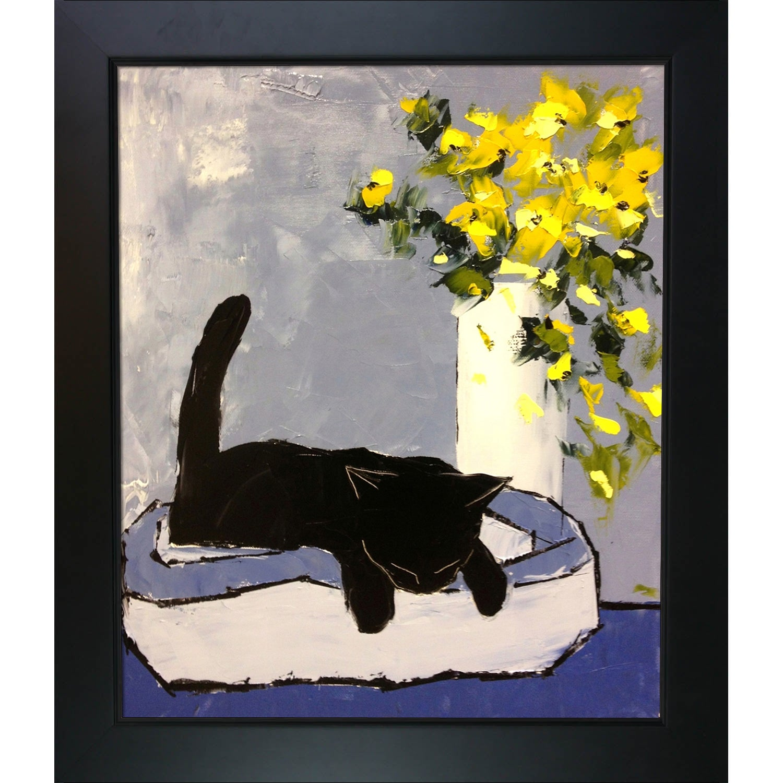 Atelier De Jiel 'Black Cat is Sleeping' Framed Fine Art Print