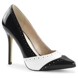 Women's Pleaser Amuse 26 Black/White Patent