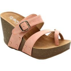 Women's Beston Mara-01 Wedge Sandal Blush Faux Leather