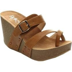 Women's Beston Mara-01 Wedge Sandal Tan Faux Leather