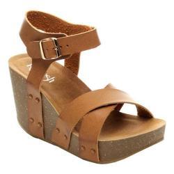 Women's Beston Mara-05 Ankle Strap Sandal Brown Faux Leather