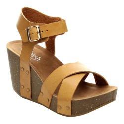 Women's Beston Mara-05 Ankle Strap Sandal Camel Faux Leather