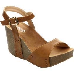 Women's Beston Mara-06 Ankle Strap Sandal Tan Faux Leather