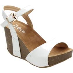Women's Beston Mara-06 Ankle Strap Sandal White Faux Leather