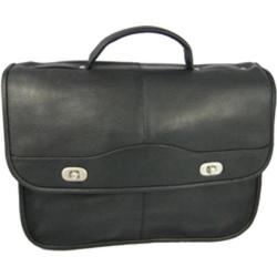 Men's David King Leather 117 Top Handle Flap Front Expandable Black